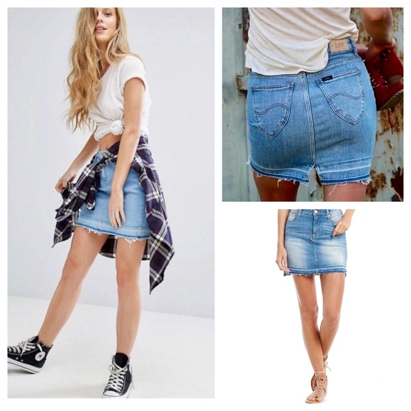 3d481a02f5 Vintage Skirts | 90s Undone Hem Mini Denim Skirt | Poshmark